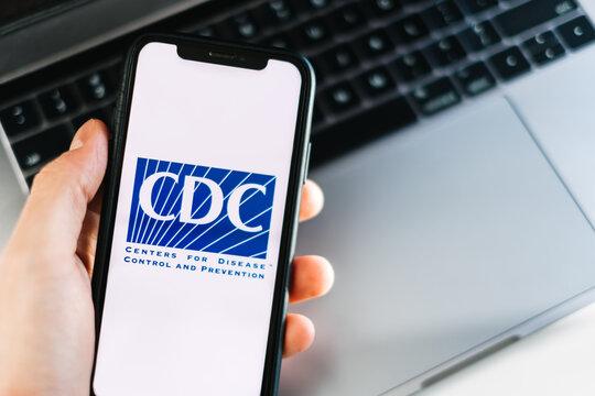 CDC Centers for Disease Control and Prevention logo on smartphone screen. Rostov-on-Don, Russia. 7 December 2020