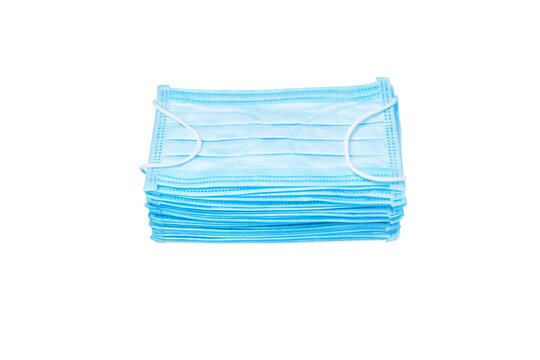 Pile of Blue Medical Mask Isolated on White Background. Stack Mask. Pile Mask. Disposable Face Masks Isolated on White. Isolated object Set Protection Masks. Isolate a 3-ply Surgical Masks Stacked