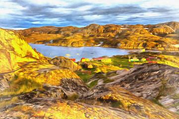 Scenery landscape of Barents sea shoreline