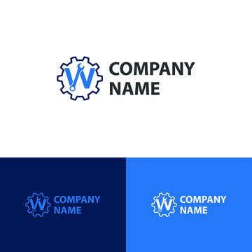 Initial logo with Letter W Wrench and Gear Icon vector for mechanic, setting, repair, and service company
