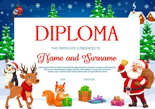 Diploma or certificate of children education with vector Christmas cartoon characters. School or kindergarten graduation award, achievement certificate and appreciation gift with Santa and Xmas gifts