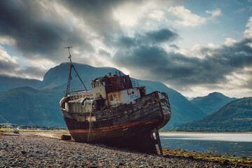 Old boat of Caol in front of Ben Nevis in Scotland, taken in August 2020