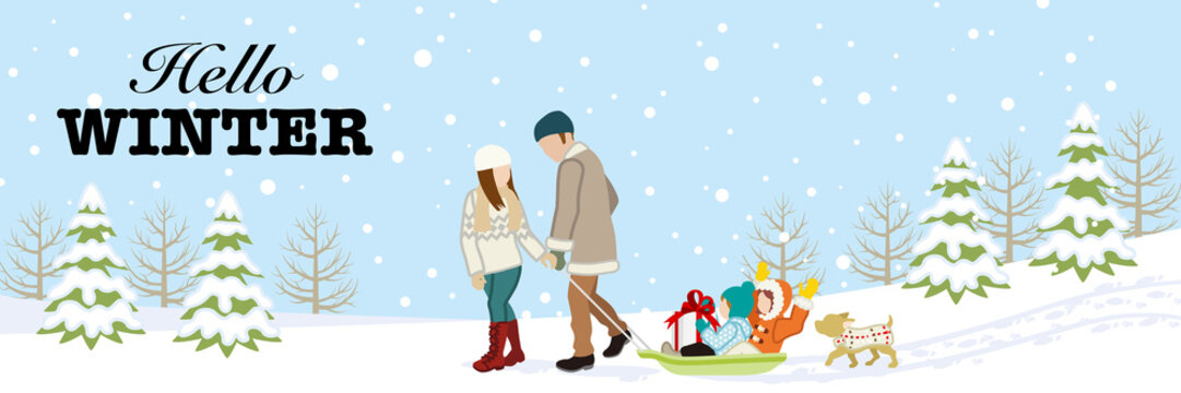 """Young family in winter nature, included greeting words """"Hello WINTER"""""""