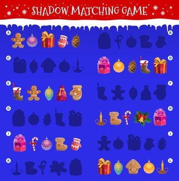 Kids shadow matching game with Christmas objects. Children maze or riddle with matching task. Gingerbread cookies, Christmas tree ornaments baubles, gift box and mitten, candy cane, stocking vector