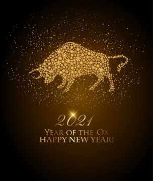 Happy New Year 2021 background. Year of the Ox concept. Vector