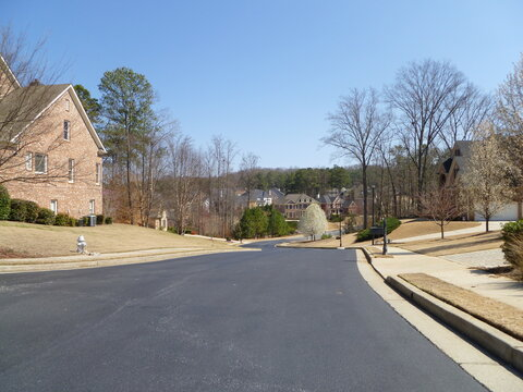 view from below of street in condominium in Suwanee, USA