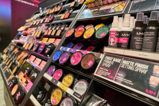 MILAN, ITALY - CIRCA NOVEMBER, 2017: cosmetics on display at NYX shop in Milan. NYX Cosmetics is a cosmetics company which is part of the L'Oreal group