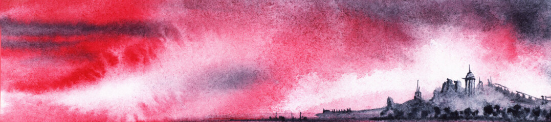 Watercolor landscape of dark blurry silhouettes of distant city against amazing sunset sky of scarlet color with white fluffy and black thunder clouds. Beauty of heaven hand drawn on textured paper.