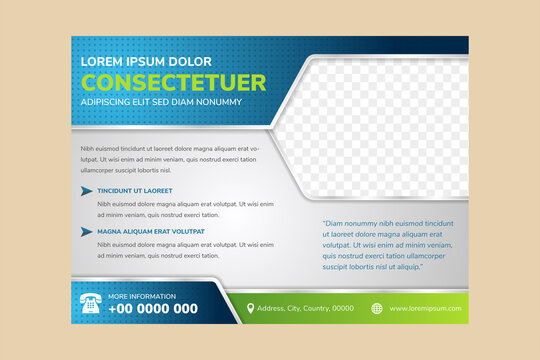 abstract geometric flyer template use blue and green gradient for element and white grey background. half hexagon shape for photo space with line border. horizontal layout with dot pattern.