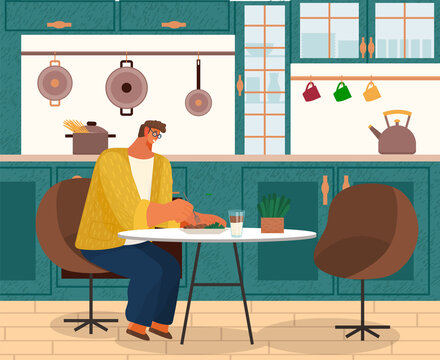 Stylish man sitting on modern armchair at home at a cozy table eating dinner vector illustration. Male character having lunch drinking tea and eating salad in a kitchen interior with furniture