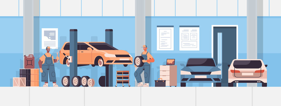 mix race mechanics working and fixing vehicle car service automobile repair and check up concept maintenance station interior horizontal vector illustration