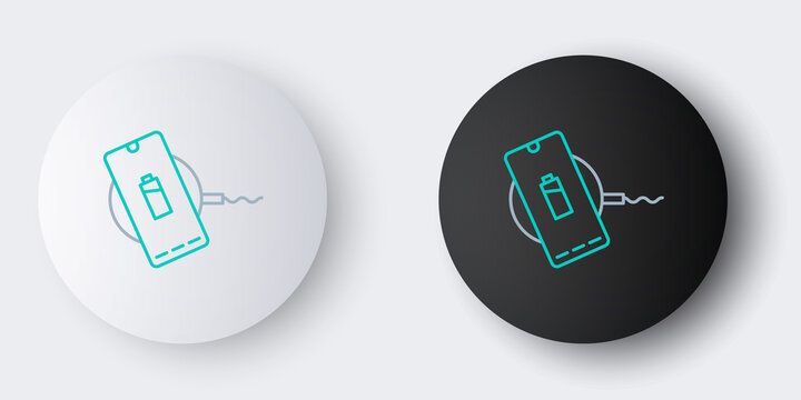 Line Smartphone charging on wireless charger icon isolated on grey background. Charging battery on charging pad. Colorful outline concept. Vector.