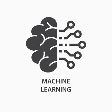 Machine learning icon. Artificial intelligence, smart machine logo template. Vector illustration.
