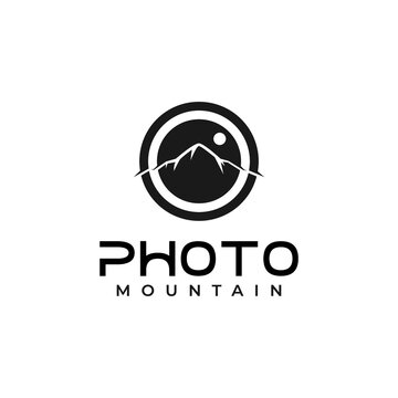 lens and mountain for outdoor adventure nature photography photographer logo design