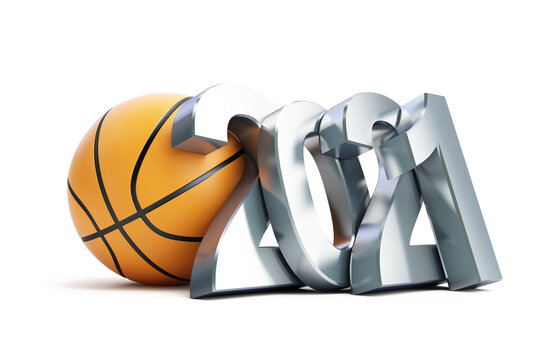 Basketball new year 2021 on a white background 3D illustration, 3D rendering