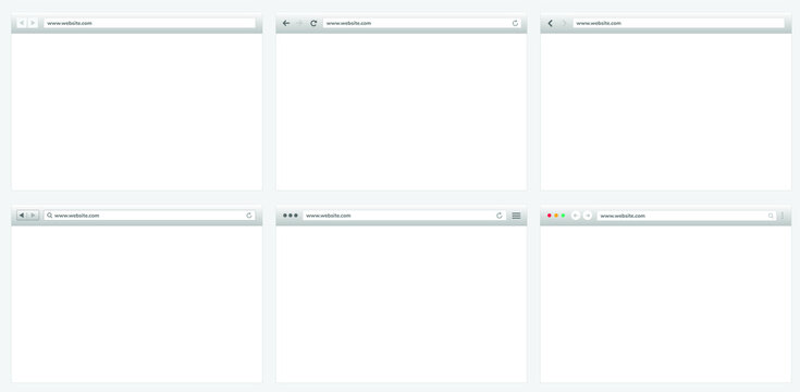 Blank web browser window, empty internet page concept, the skeleton for web browser, window screen. Vector template layout.