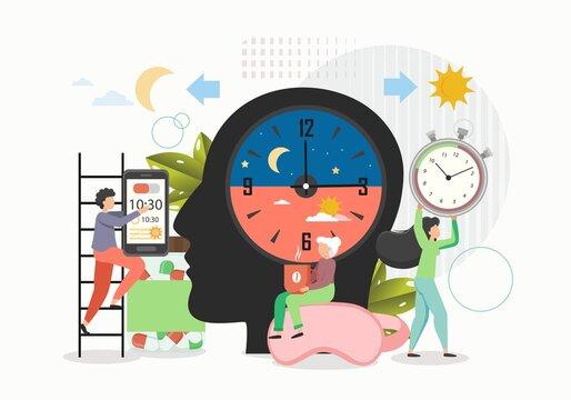 Biorhythms. Day and night activity, flat vector illustration. Rhythmic biological cycles, human chronotypes.
