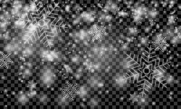 Heavy snowfall on a transparent background. Vector illustration.
