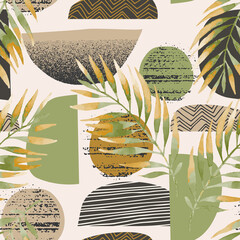 Hand drawn seamless pattern in scandinavian minimal style