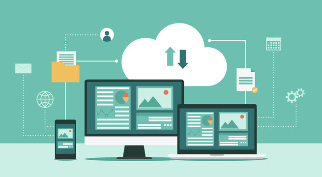 Cloud computing technology network with computer monitor, laptop, and mobile phone, Online devices upload, download information, data in database on cloud services, vector flat illustration