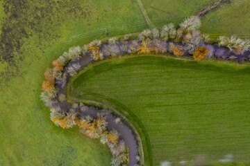 Aerial views autumnal landscape