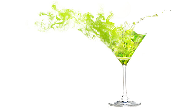 Swirls of smoke coming from a green cocktail in a martini cup. Smoky drink isolated on white with space for text and images.