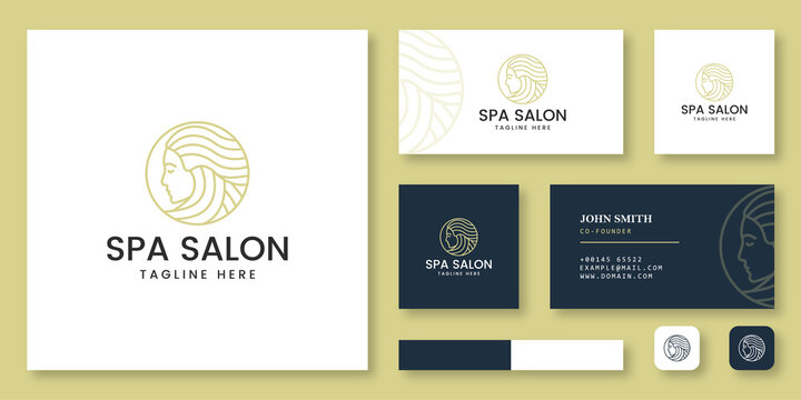 Spa salon logo design mockup with business card template
