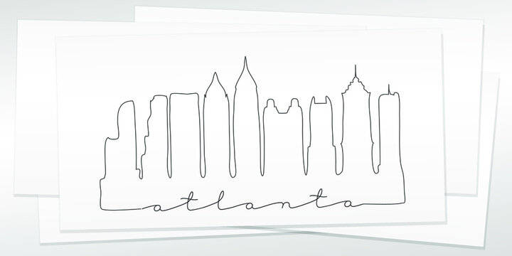 Atlanta, GA, USA Doodle Skyline Hand Drawn. City One Line Art Illustration Landmark. Minimalistic Sketch Pen Background.
