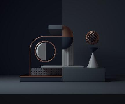 Minimalist geometric composition. Bauhaus 3d render design.