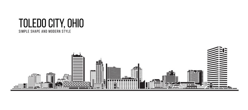 Cityscape Building Abstract Simple shape and modern style art Vector design - Toledo city , Ohio