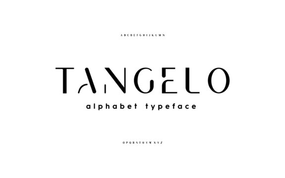 Stencil san serif, alphabet, uppercase letters, typography.  Simple elegant fashion minimalist lettering. Vector illustration.