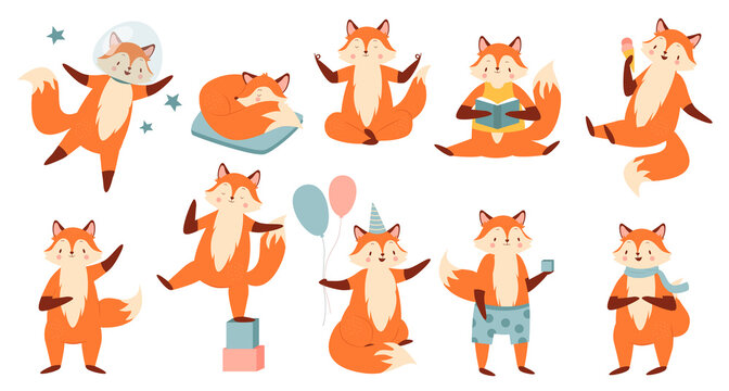 Cartoon funny fox vector illustration set. Cute collection with red fox astronaut flying in space, reading book, sitting in yoga zen pose, sleeping, celebrating holiday with balloons isolated on white