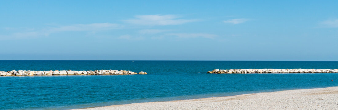 Panorama view beach of Fano, Marche, taly