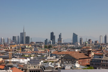 Fototapeta Panoramic view of Milan city with modern buildings from Milan Cathedral