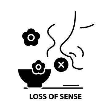 loss of sense icon, black vector sign with editable strokes, concept illustration