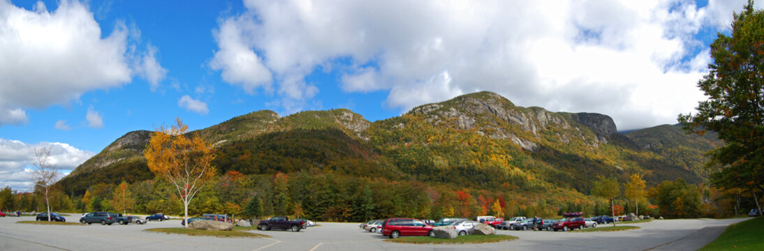 Franconia Notch with fall foliage and Echo Lake panorama in Franconia Notch State Park in White Mountain National Forest, near Lincoln, New Hampshire NH, USA.