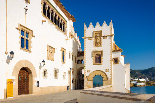 View of the Maricel museum building from Sitges beach, Catalunya, Spain