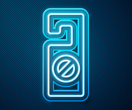 Glowing neon line Please do not disturb icon isolated on blue background. Hotel Door Hanger Tags. Vector.