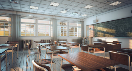 interior of a school classroom - fototapety na wymiar