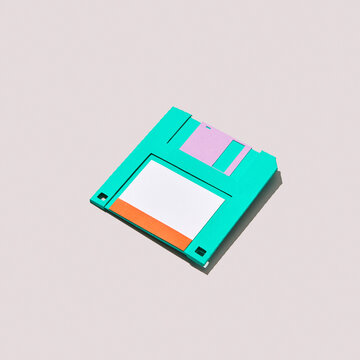 Paper craft diskette with shadows.