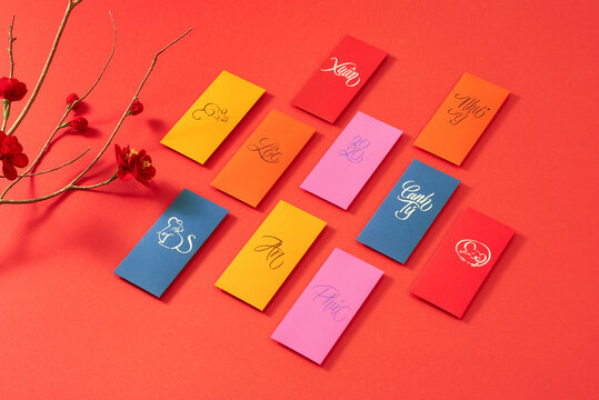 Decoration for Vietnam Tet holiday, also lunar new year. Lucky envelops for Rich wishes.