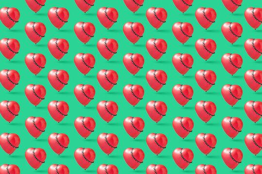 Heart balloon with spikes collars pattern.