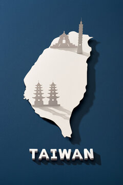 Map of Taiwan cut paper with nationals symbol. Travel concept.