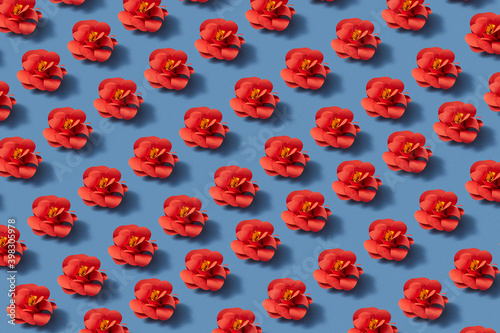 Red flowers craft pattern.