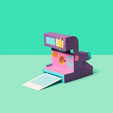 Retro photo camera papercraft.