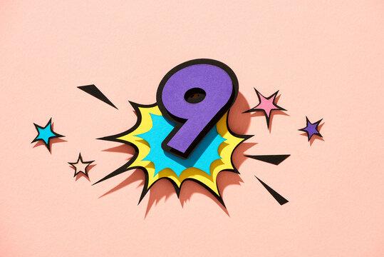 Nine. Number 9 in style of comics, pop art