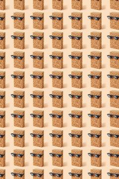 Vertical sponges in glasses pattern.