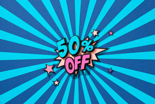 Comic lettering 50 percent off SALE in the speech bubble comic style