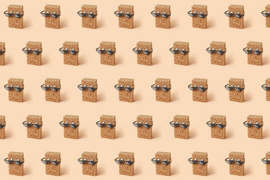 Creative pattern with sponges in pixel glasses.
