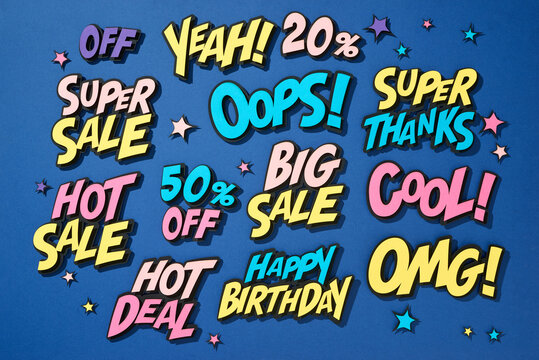 Sale promo discount shopping comic text speech bubble
